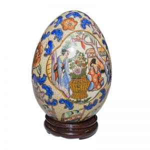 Ceramic Ostrich Size Decorated Egg on Stand